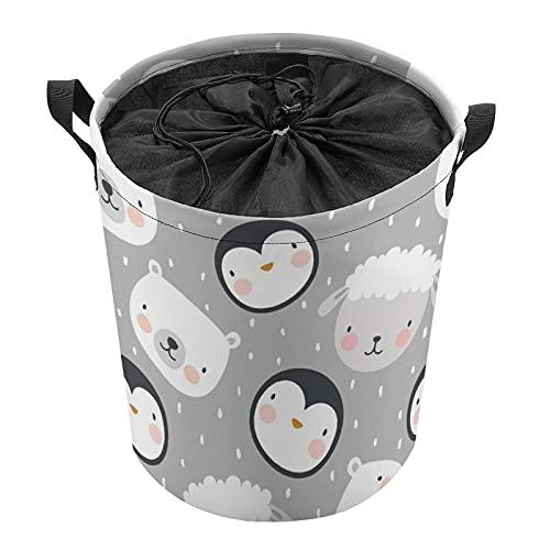 Cubo de almacenamiento impermeable grande organizador ligero cesta para la colada, cubos de juguete, cestas de regalo, ropa sucia, dormitorio de niños, baño de animales de pingüino cabra