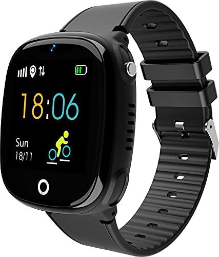 JBC GPS Uhr Abenteurer 2/2021 Wasserdicht | GPS-Smartwatch für Kinder mit SOS-Taste, Standort-Anzeige, Telefon & Sprachnachrichten | per App mit Smartphone der Eltern verbunden (Schwarz)