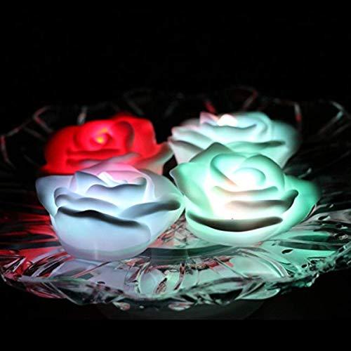 OSALADI 6 Stücke Led Schwimmendes Licht Rose Nachtlicht Bunte Schwimmende Rose Kerze Lampe Schöne Rose Licht für Party Dekoration (7 Farben Flash)