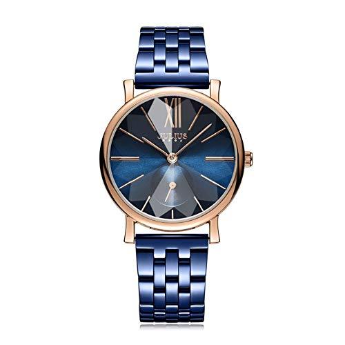 CHENDX Sra.Nueva Moda Reloj de Doble dial Hombres y Mujeres Reloj de Cuarzo de Acero Reloj Neutral (Color : B)