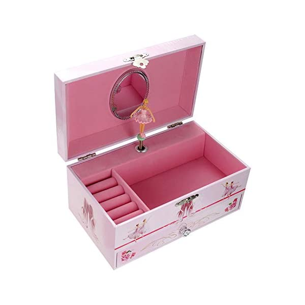 TAOPU Sweet Musical Jewelry Box with Pullout Drawer and Dancing Ballerina Girl Figurines Music Box Jewel Storage Case… 4