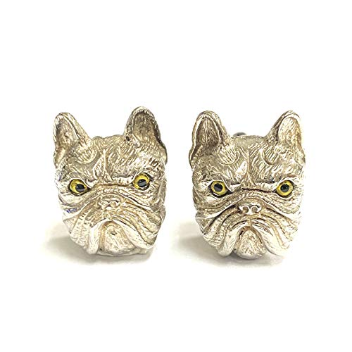 Victorian Style French Bulldog Cufflink with Emerald Stone 925 Sterling Silver Mens Gift