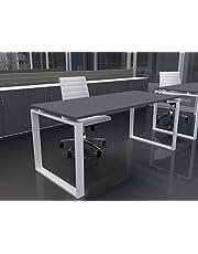 Mesa de Oficina con Estructura Cerrada, de 180x80cm. FABRICACIÓN Nacional. Entrega de 3 a 7 dias. (Tablero Gris Grafito, Estructura Blanco)