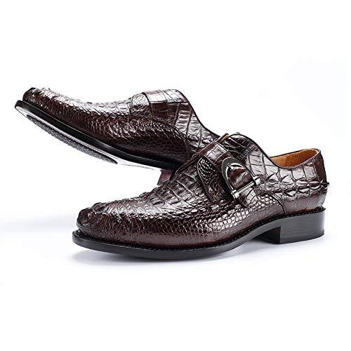 XOCKYE Herren Anzugschuhe Business Schuhe Lederschuhe aus Leder für Beruf und Anzug Rindleder Schwarz@Brown_44