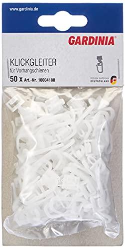 GARDINIA Klickgleiter inklusive Faltenlegehaken, 50 Stück, Für Vorhangschienen GE & P2Ü, Kunststoff, Weiß
