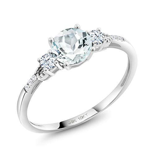 Gem Stone King 10K White Gold Sky Blue Aquamarine White Created Sapphire and Lab Grown Diamond Women Engagement Ring (0.61 Ct Round, Available in size 5, 6, 7, 8, 9)
