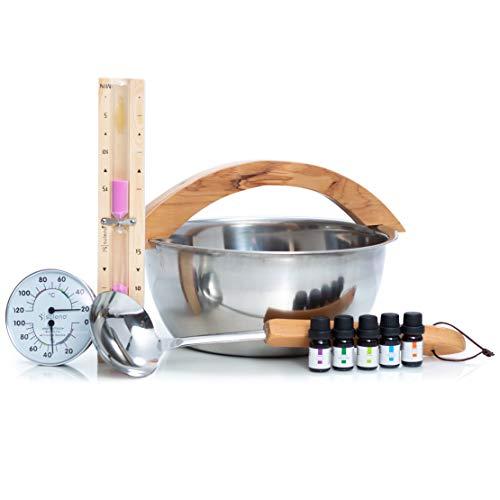 SULENO Sauna Set 9-teilig Edelstahl Aufgusskübel Aufgusskelle Klimamesser 5 x Duftkonzentrat...