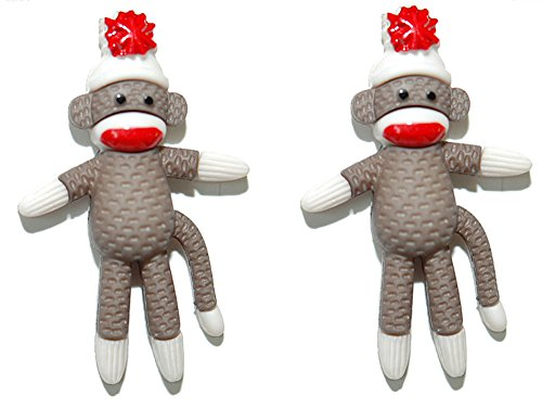 Cute Standing Sock Monkey Stud Earrings (S050)