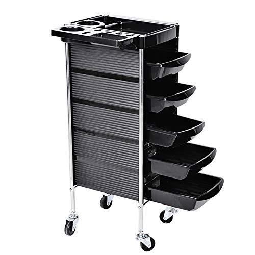 Salon Trolley, Friseur Arbeitswagen, Multifunktionswagen Friseursalon-Laufkatze mit 5 Schubladen Schwarz