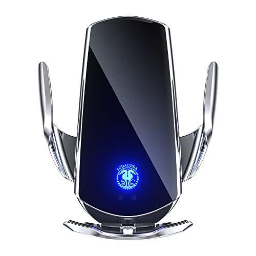 Sodacoda Q3 Kabelloses Handy Auto Ladegerät - Halter für Apple iPhone 12/11 Pro/XS/Max/X/Xr / 8 / Plus, Samsung S6 / S10 / S9 / Note 9 / S8, 5-15W alle Qi Smartphones (Silber)