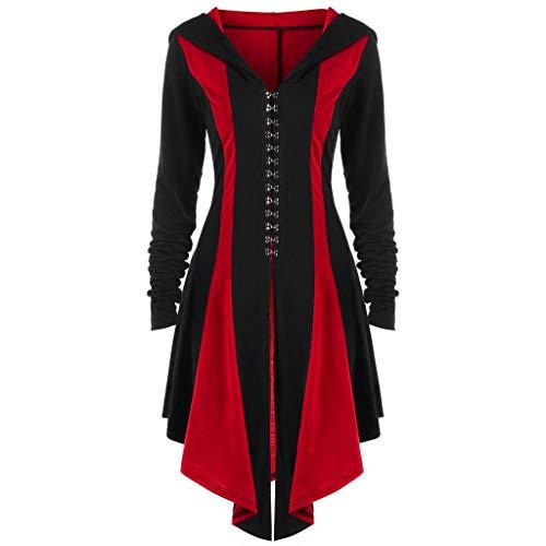 Oyedens Elegant Gothic MäNtel Kleider Damen, Damen Langarm Steampunk Hooded Jacke UnregelmäßIge RüCkenbandage Mantel Mit Kapuze Parka Mantel Jacke Outwear Mittelalter Bluse(rot, 2XL)