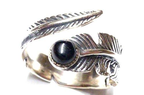 Silberring, Band Ring offen, Motiv Seelrnfeder, mit Onyx Stein, aus 925 Sterling Silber gearbeitet, Größe 58-18,5 offen variabel, Geschenk, Schmuck