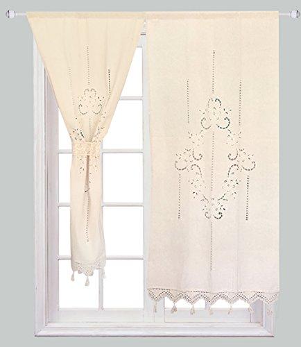ZHH 1 Paar Vorhänge, aushöhlen Blumen natürliche Baumwolle Häkeln Band Top Beige Vorhänge 70 x 150 cm