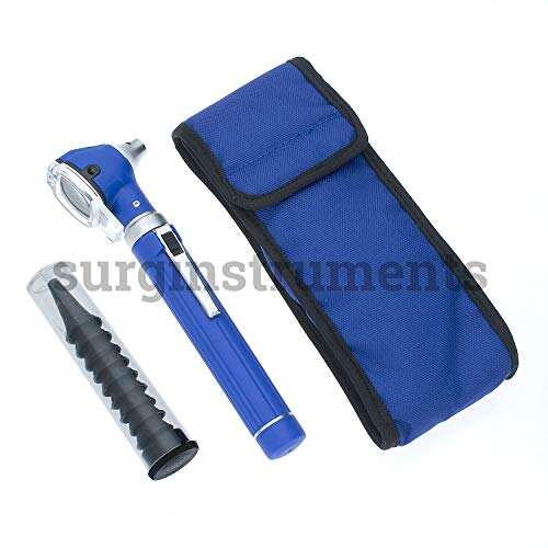 Fiber Optic Mini Otoscope Rainbow Many Colors - Pocket Otoscope with Case ENT Diagnostic Set w/Extra Bulb Included (Blue)