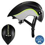 Exclusky Aero Bike Helmet with Removable Shield Visor Time Trial for Men Women, TT Triathlon Helmet for Road Bike, Cycling