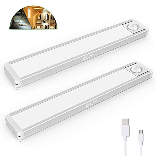 CLY Luces LED Armario con Sensor Movimiento,Sensor luz del armario, Luz Armario con Sensor de Movimiento Luz Sensor para Armario USB Recargable(2 pack)