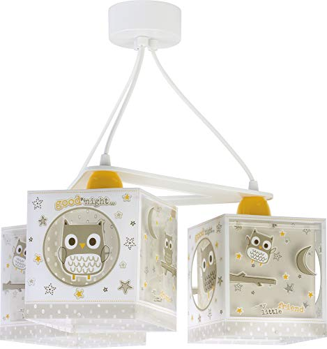 Dalber kinderlamp 3-lampen Good Night Uilen beige dieren 60W