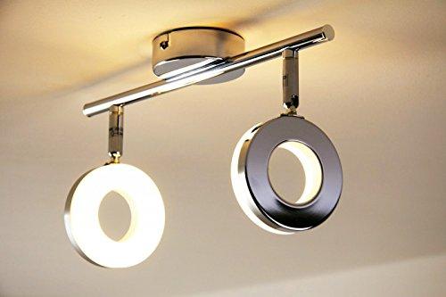 LED Deckenleuchte Paris, Deckenlampe in Chrom, 2-flammig, mit 2 verstellbaren Strahlern, je 6 Watt, 420 Lumen (840 Lumen insgesamt), Lichtfarbe 3000 Kelvin (warmweiß)