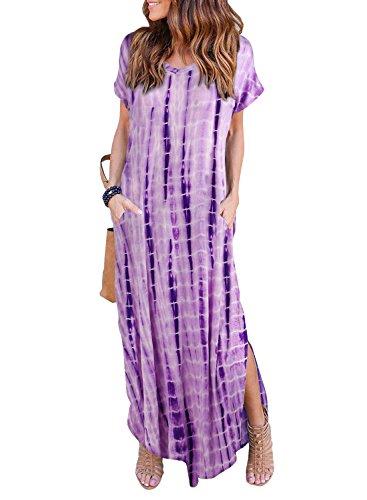 HUSKARY Women's Summer Maxi Dress Casual Loose Pockets Long Dress Short Sleeve Split -Tie Dye Purple