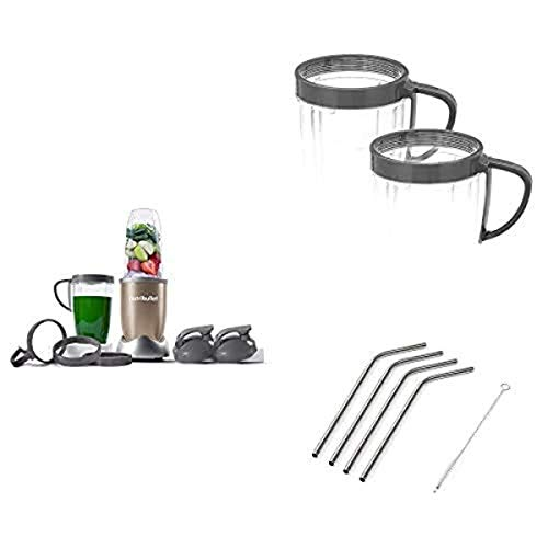 NutriBullet Pro Nutrient Extractor with set of 2 Handles and 4pk Stainless Steel Straws