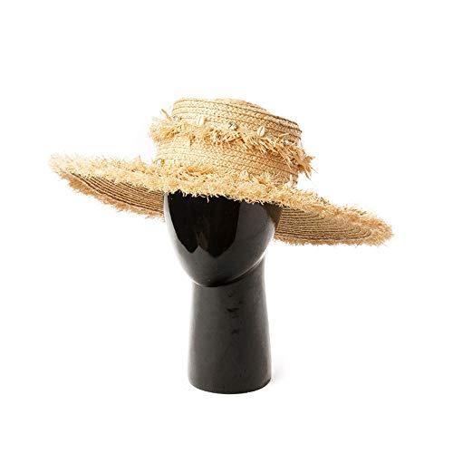 XWWS Sombrero De Sol Shell Brillante Diamante Hierba Borla Anillo Decoración Top Rafia De ala Grande del Sol del Sombrero De Paja