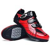Herren MTB Fahrradschuh Outdoor Road Cycling Shoes Buckle Lock Schuhe Super Atmungsaktiv Der Schnellste Schuh in Der Übergangszone,Rot,44