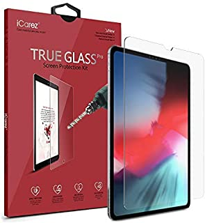iCarez [Tempered Glass] Screen Protector for Apple 12.9-inch iPad Pro 12.9 2018 Premium Glass Easy to Install [9H 0.3MM 2.5D]