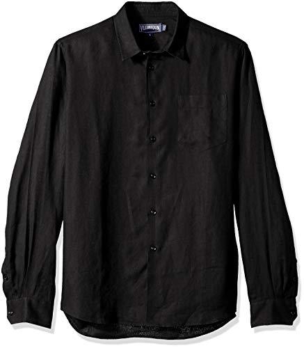 Vilebrequin Caroubis Chemise à boutons en lin massif pour homme - Noir - XX-Large