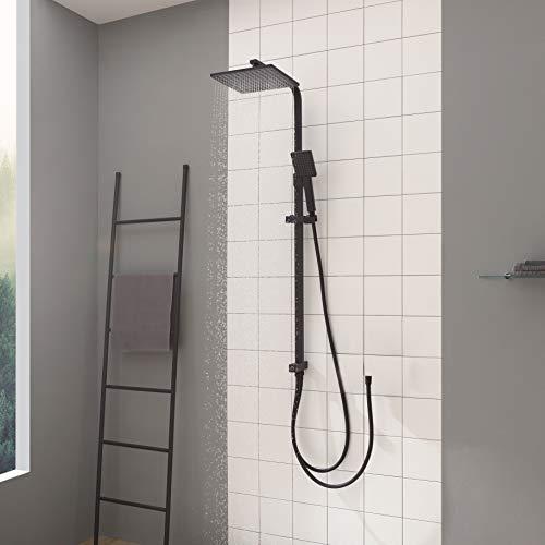 CECIPA Regendusche Duschsystem ohne Armatur Schwarz, Duschsystem mit 23cm X 23cm Kopfbrause und Handbrause