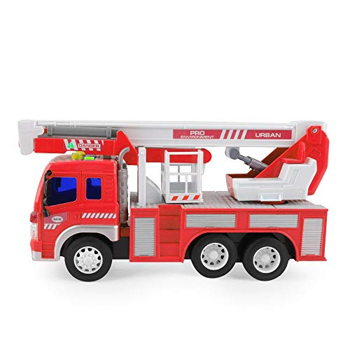 Gizmovine Fire Truck Toy Friction Power with Lights and Sounds, Extending Rescue Rotating Ladder Pull Back Construction Toys Vehicles for Toddlers Boys 4, 3, Year Old, 1:16 Scale