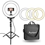 Auriani 16' Ring Light, 3200k-5600k Color Temperature and Brightness Dimmable LED Ring Light with Tripod Stand and Carrying Bag for Camera, Smartphone, YouTube, Self-Portrait Shooting, 110V-240V