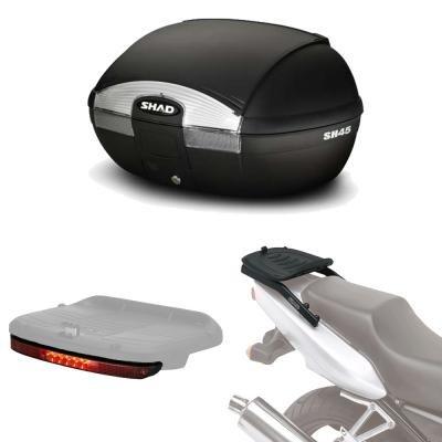 Sh45luhe110 - Kit fijacion y Maleta baul Trasero + luz de Freno Regalo sh45 Compatible con Kawasaki versys 650 2015-2017