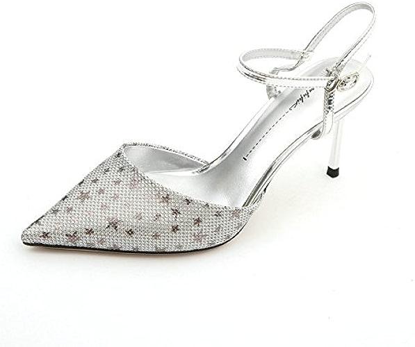 YMFIE été Peu Profonde Bouche Stiletto pointé étoiles Talons Hauts Sandales Talons Hauts Chaussures Simples