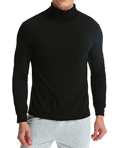 MODCHOK Turtleneck Shirt, Herren Langarmshirt Rollkragenshirt Ringelshirt Rollkragenpullover Longsleeve Slim Fit Einfarbig Schwarz M