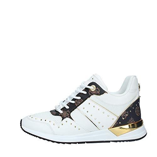 Scarpe Donna Guess Sneaker Running Rejjy in Ecopelle/Tessuto Bianco/Brown DS20GU03