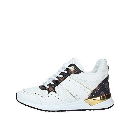 Guess Scarpe Donna Sneaker Running Rejjy in Ecopelle/Tessuto Bianco/Brown DS20GU03
