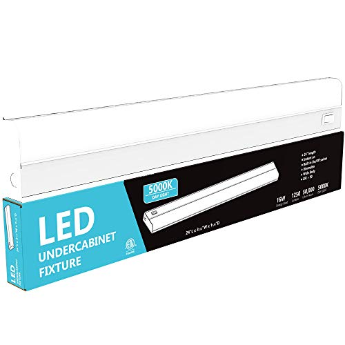 """Hardwired LED Under Cabinet Task Lighting - 16 Watt, 24"""", Dimmable, CRI>90, 5000K (Day Light), Wide Body, Long Lasting Metal Base with Frost Lens"""