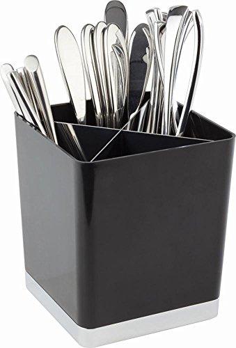 APS 16 Schwarzer Tisch Abfallbehälter / Besteckeimer mit Teilern und verchromter Basis, 14 x 14 x 16 cm