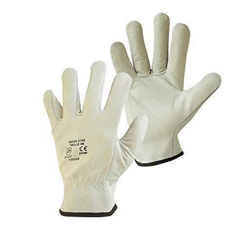 Linxor France ® Paire de gants de protection pro cuir 100% - Blanc - 4 tailles - Norme CE