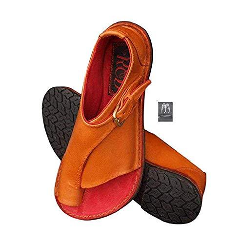 Chickwin Sandalias Mujer Planas Cómodos, Zapatos de Verano Planas Bohemias Elegant Zapatos de Playa Moda Fiesta Cuero Slingback Peep Toe Talla Grandes Plataforma Cuña (CN39=245mm,Naranja)