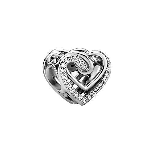 Pandora People Funkelnde Verschlungene Herzen Charm aus Sterling Silber/Größe: 1,1cm