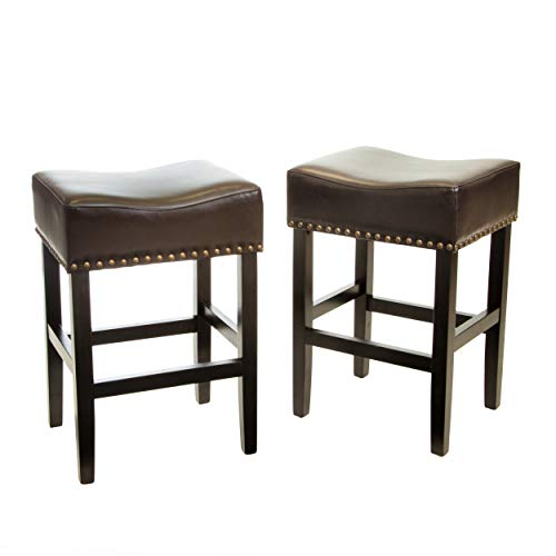 Christopher Knight Home Lisette Backless Counter Stools, 2-Pcs Set, Brown