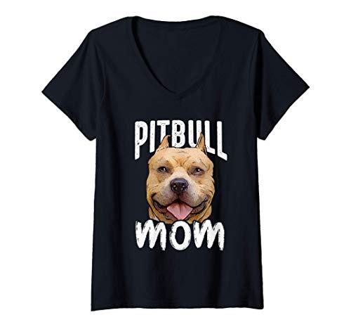 Mujer Pitbull Mama I Pitbull Lover I Pittie Mama I Pitbull Camiseta Cuello V