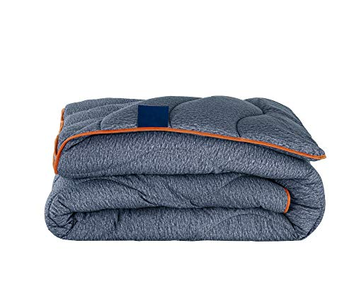 Night Owl Single Duvet 10.5 Tog - No Cover Required, Ready to Use & Washable - Soft Touch Microfibre Printed Design - Dark Blue/Orange