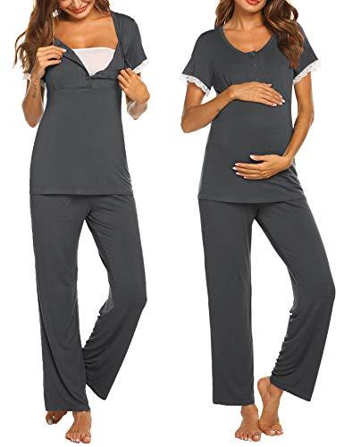 Ekouaer Pregnancy Pajamas Set Sleepwear Soft Comfy Nightwear Maternity Tops & Pants for Women Dark Grey L