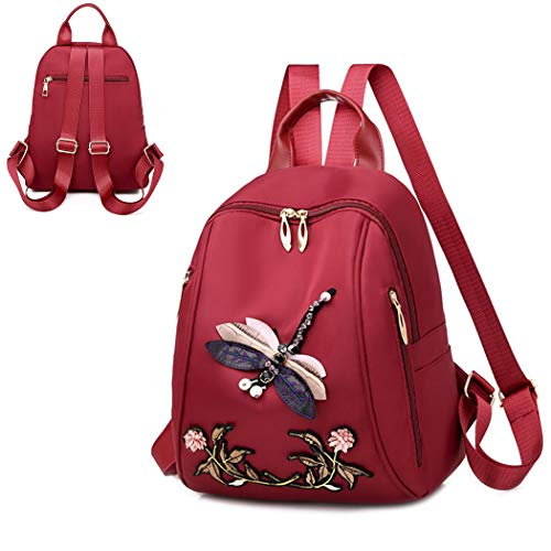 M STAR Leisure Backpack Embroidered Backpack 3D Dragonfly Backpack Female Ethnic Style Waterproof School Bag Outdoor Travel Bag,Red