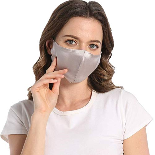 100% Mulberry Silk Grey Face Mask Reusable Adjustable with Filter Pocket-Light Gray