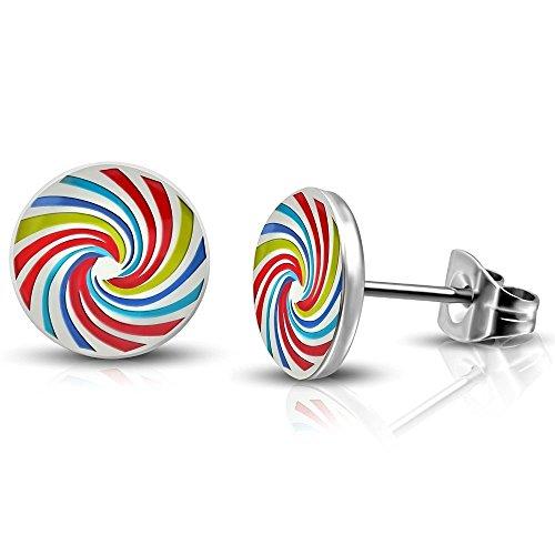 Bungsa Oorstekers met regenboog, kleurrijke spiraal, twister, oorbellen, zilver, 7 mm, 1 set (1 paar = 2 stuks), van roestvrij staal, regenboog-oorsieraad voor dames en heren, dames en heren
