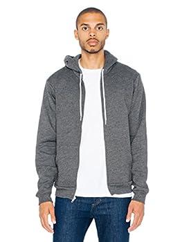 American Apparel mens Flex Fleece Long Sleeve Zip Hoodie Style F497w Hooded Sweatshirt Dark Heather Grey X-Large US