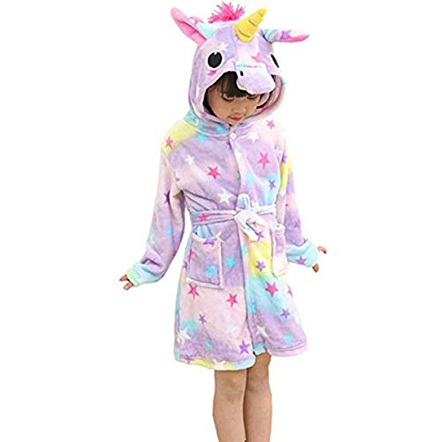 BovoYa Kinderbademantel, Cartoon Unicorn Kids Pyjamas Bademantel mit Kapuze Flanell Tier Badetuch für Kinder + Geldbörse 100, 110, 120, 130, 140